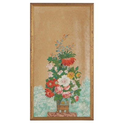 Chinese Style Still Life Gouache Painting on Silk of Flowers in a Footed Vase