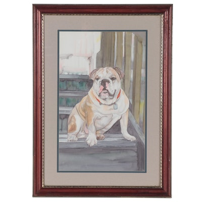 Rosie Vassallo Watercolor Painting of Bulldog, Late 20th Century