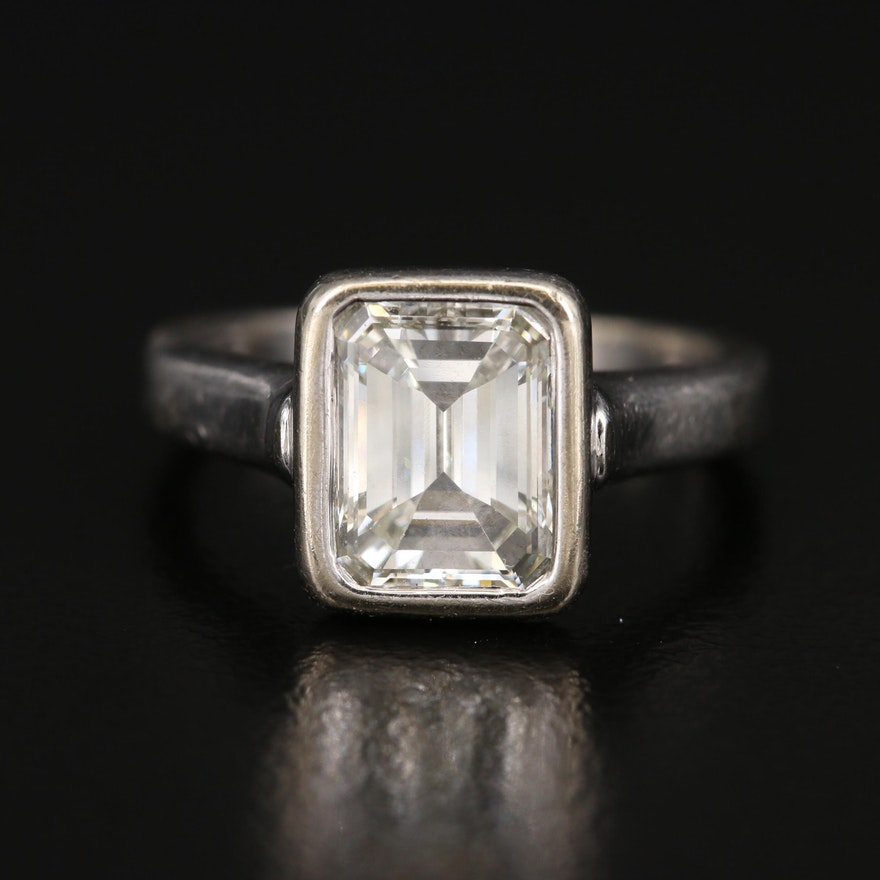 14K 2.40 CT Diamond Bezel Set Solitaire Ring