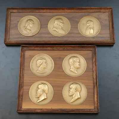 Seven Framed Bronze Presidential Commemorative Medals