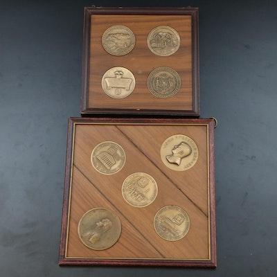 Nine Framed Bronze Commemorative Medals