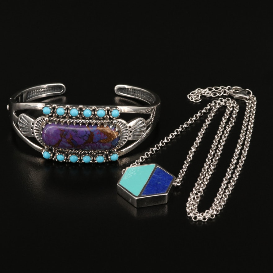 Sterling Lapis Lazuli and Reconstituted Turquoise Necklace and Cuff