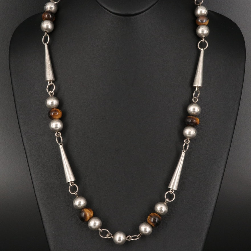 Modernist Style Sterling and Tiger's Eye Bead Necklace