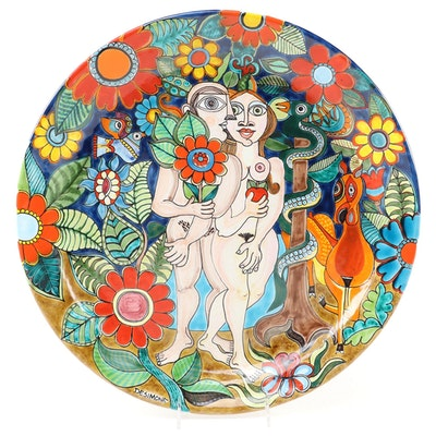 """DeSimone Pottery of Italy """"Adam and Eve"""" Wall Hanging Plate"""