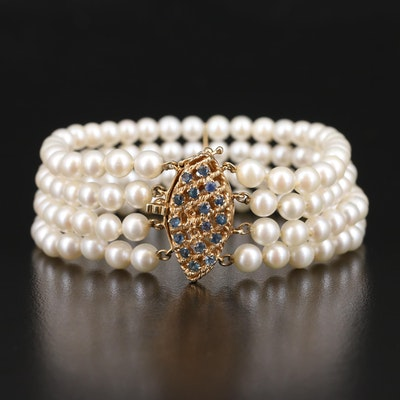 Vintage 14K Pearl and Sapphire Four Strand Bracelet with Navette Clasp
