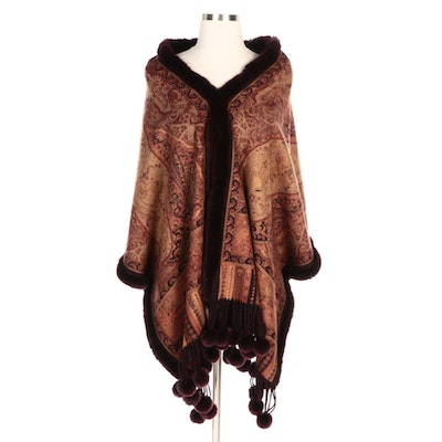 Paisley Print Cashmere and Rex Rabbit Fur Stole with Pom-Poms and Merchant Tag