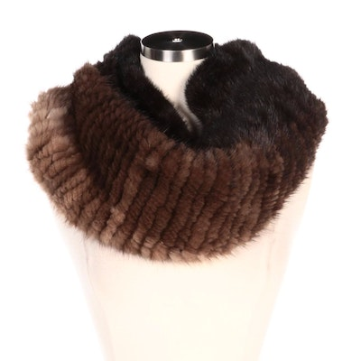 Ombré Rex Rabbit Fur Trimmed Knit Circle Scarf with Furrier Tag