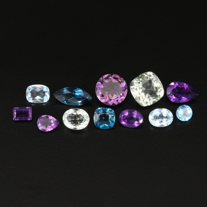 Loose 31.83 CTW Gemstone Selection Including Amethyst, Citrine and Topaz