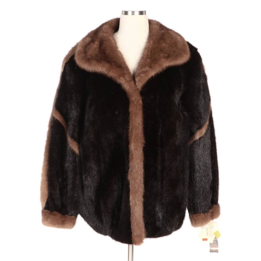 Saga Royal Ranch Mink Fur Raglan Sleeve Car Coat for Elder-Beerman