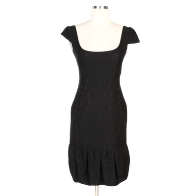 Valentino Black Lace Patterned Jacquard Cap Sleeve Dress