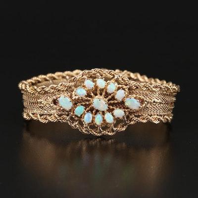 Vintage 14K Opal Mesh and Rope Bracelet