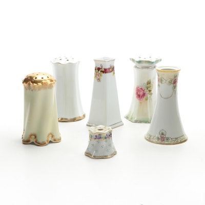 Continental Hand-Painted and Transfer Porcelain Hat Pin Holders