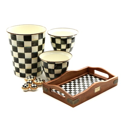 "MacKenzie-Childs ""Courtly Check"" Flower Pot, Serving Tray and More"