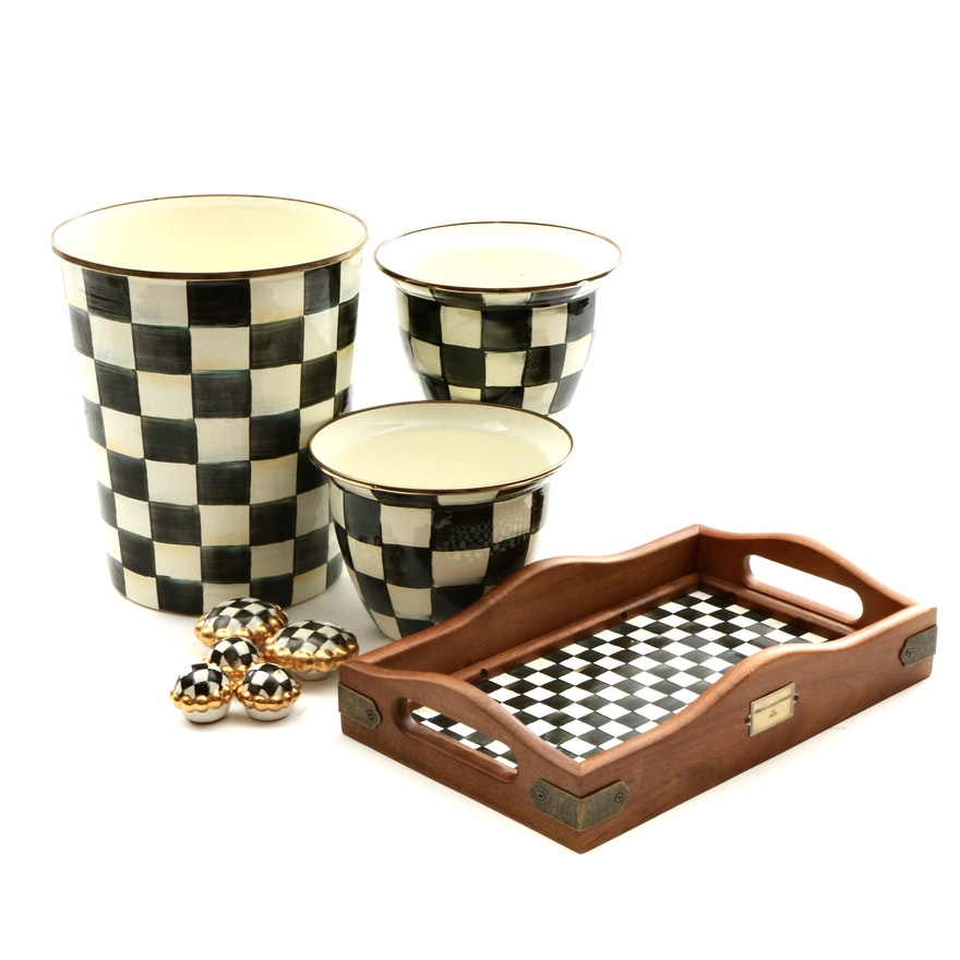 """MacKenzie-Childs """"Courtly Check"""" Flower Pot, Serving Tray and More"""