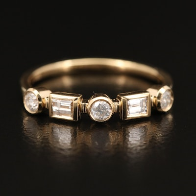 18K Diamond Geometric Band
