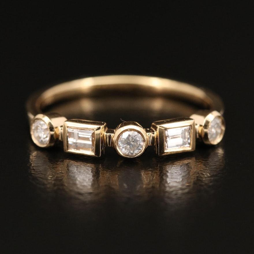 18K Diamond Geometric Band