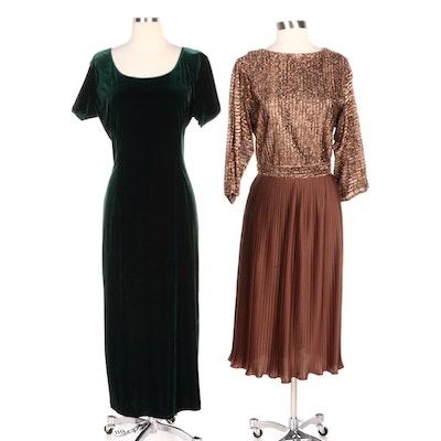 Robbie Bee and R&K Originals Velveteen and Metallic Occasion Dresses