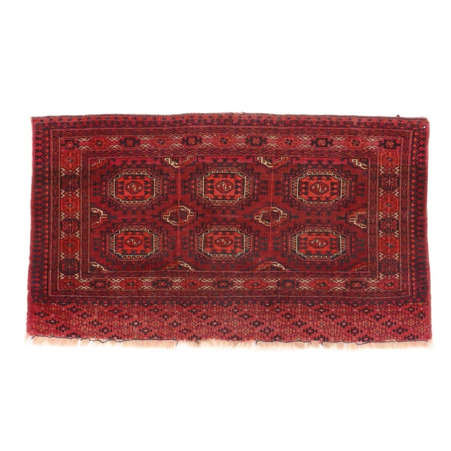 2'6 x 4'4 Hand-Knotted Persian Turkmen Rug, 1910s