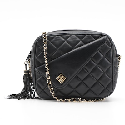 Givenchy Black Quilted Leather Chain Tassel Crossbody