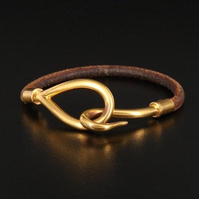 Hermès Jumbo Hook and Leather Bracelet