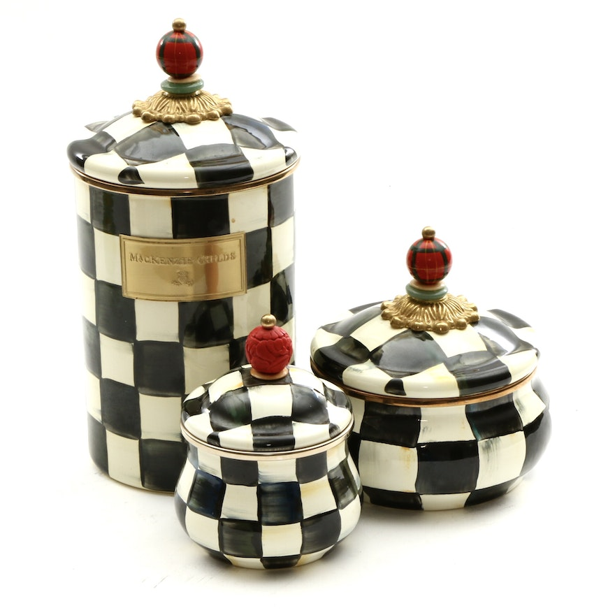 """MacKenzie-Childs """"Courtly Check"""" Enameled Lidded Sugar Bowl and Canisters"""