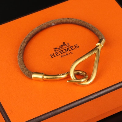 Hermès Jumbo Hook and Leather Bracelet with Box