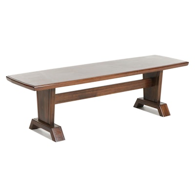 Contemporary Walnut-Finished Wood Coffee Table