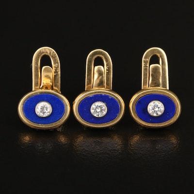 Italian Carlo Weingrill Bezel Set Diamond and Lapis Lazuli Shirt Studs