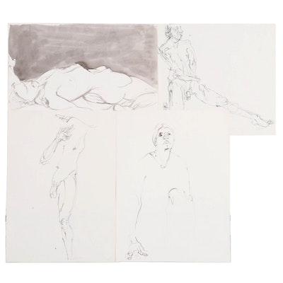 John Tuska Figure Study Ink Wash Drawings