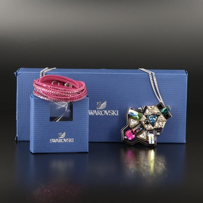 "Swarovski  ""Buzz"" Geometric Necklace and Suede Wrap Bracelet"