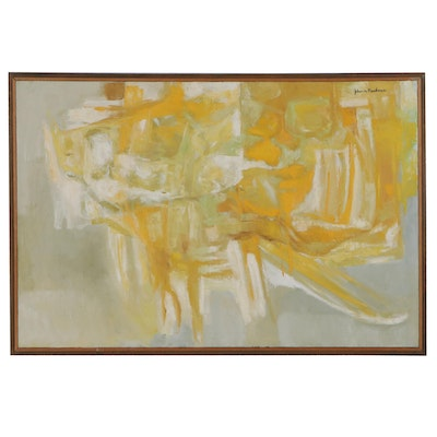"John Nartker Abstract Acrylic Painting ""Yellow,"" Late 20th Century"