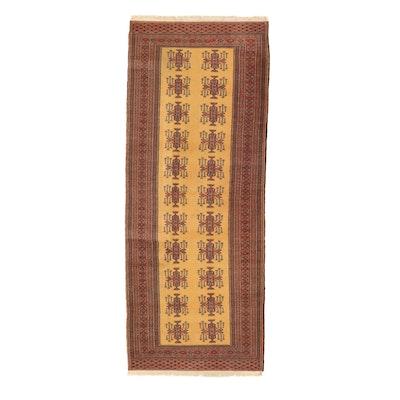 3'2 x 8'1 Hand-Knotted Pakistani Turkmen Bokhara Long Rug, 1990s