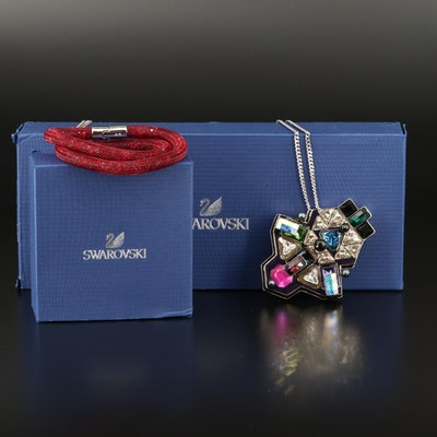 "Swarovski ""Buzz"" Geometric Necklace and ""Stardust"" Double Wrap Bracelet"