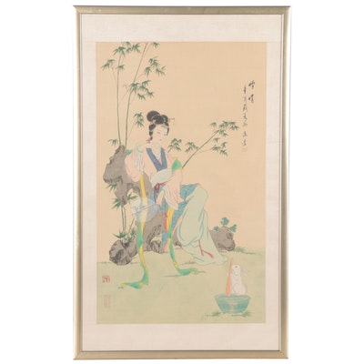 Chinese Gouache Painting of the Moon Goddess Chang'e with Rabbit