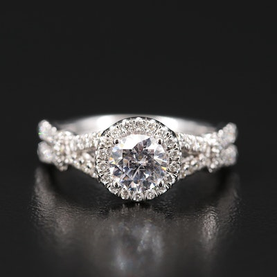 14K Diamond Semi-Mount Ring with Cubic Zirconia Center