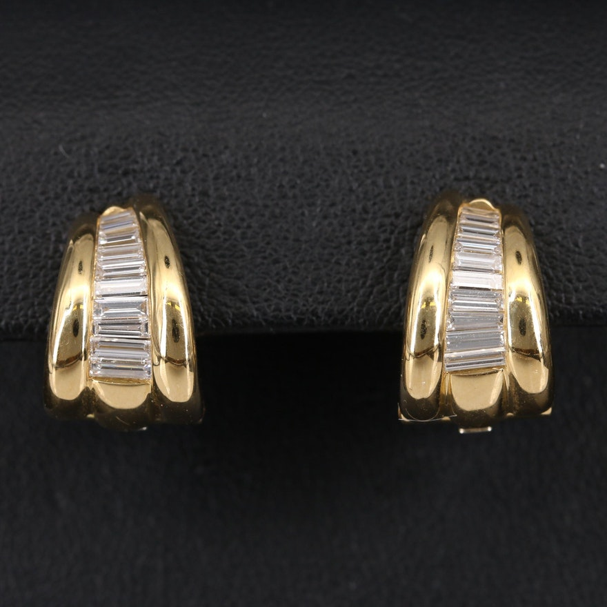 Mark Patterson 18K Diamond Graduated Clip Earrings