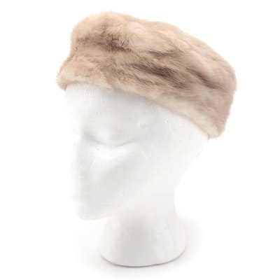 Mink Fur Pillbox Hat by Lazarus