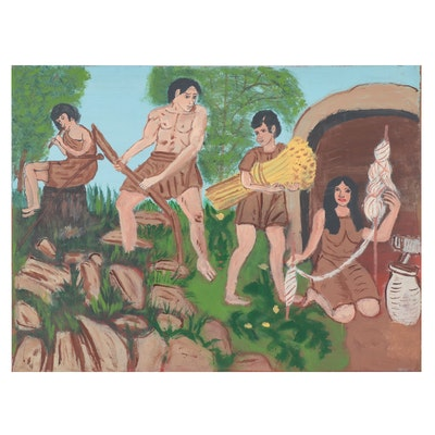 "Large-Scale Folk Art Acrylic Painting ""Adam and Eve, Our First Parnts"""
