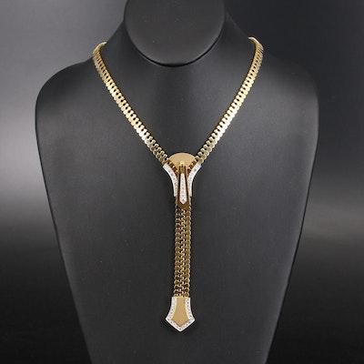 18K 1.99 CTW Diamond Adjustable Zipper Necklace