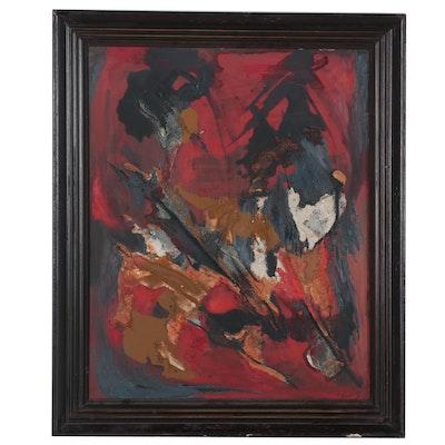 "Anita Robertson Beach Abstract Mixed Media Painting ""Timeless Autumn,"" 1964"