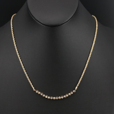 14K 1.00 CTW Diamond Wave Bar Necklace