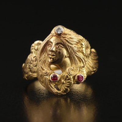 Art Nouveau Style 18K Ruby and Diamond Lady Figural Ring