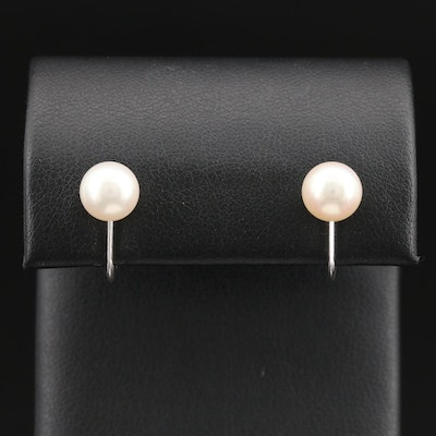 Vintage Mikimoto Sterling Screw-Back Pearl Earrings