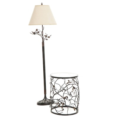 Brushed Metal Bird Theme Floor Lamp and Side Table with Glass Top