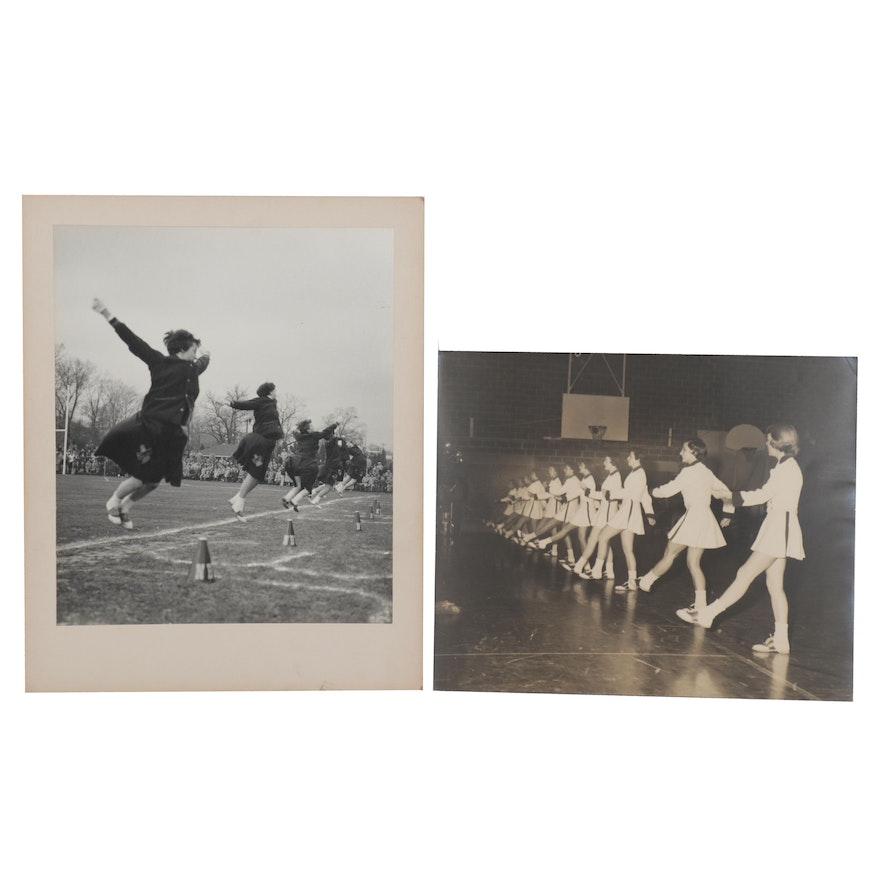 Silver Gelatin Photographs of Cheerleaders, Mid-20th Century