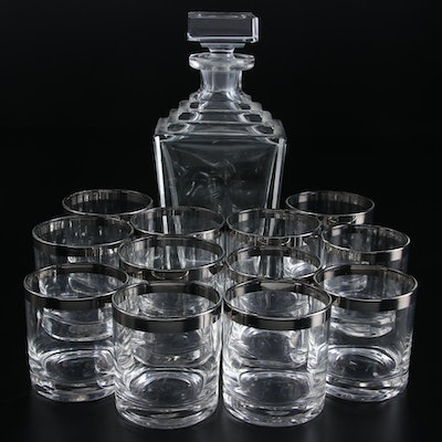 Ceska Crystal Decanter with Silver Rimmed Old Fashioned Glasses
