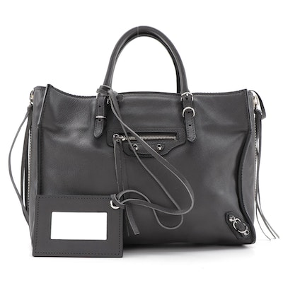 Balenciaga Mini Papier A4 Zip Around Classic Studs Bag in Gris Fossile Leather