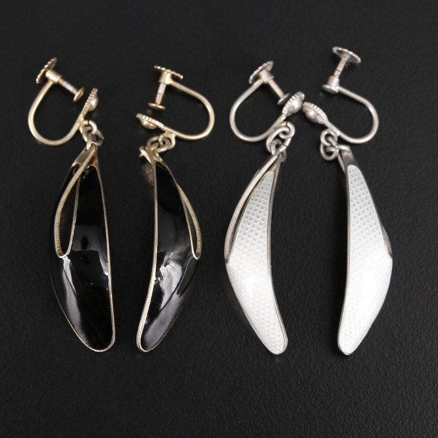 Vintage Norwegian Modernist Jacob Tostrup Sterling and Enamel Earrings