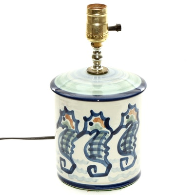 M. A. Hadley Hand-Painted Stoneware Seahorse Table Base Lamp