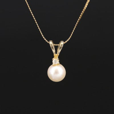 14K Pearl and Diamond Pendant Necklace